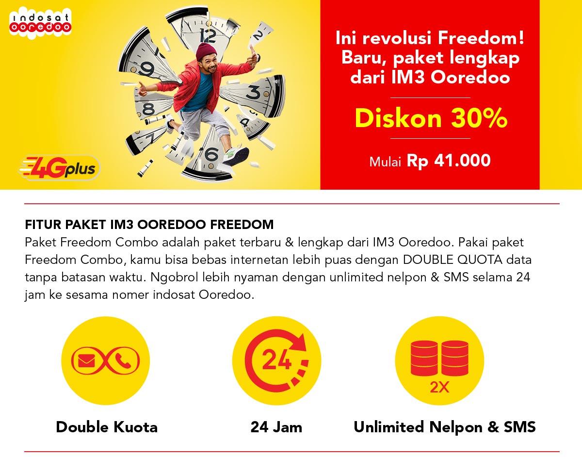 Promo Paket Perdana Freedom Indosat Ooredoo Kuota Combo L