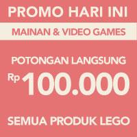 Surprise! Potongan langsung Rp 100.000 untuk produk Lego akan memotong total pembayaran menggunakan kode LOVE-TOYS