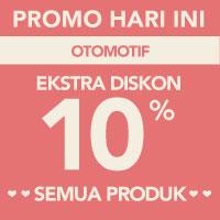 Surprise! Ekstra diskon 10% akan memotong total pembayaran di kategori Otomotif menggunakan kode LOVE-OTO10
