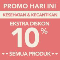 Surprise! Ekstra diskon 10% akan memotong total pembayaran kategori Kesehatan & Kecantikan menggunakan kode LOVE-KKE10