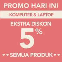 Surprise! Ekstra diskon 5% akan memotong total pembayaran kategori Komputer & Laptop menggunakan kode LOVE-KOM5