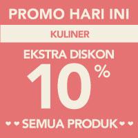 Surprise! Ekstra diskon 10% akan memotong total pembayaran kategori Kuliner menggunakan kode LOVE-KUL10