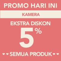 Surprise! Ekstra diskon 5% akan memotong total pembayaran di kategori Kamera menggunakan kode LOVE-KAM5