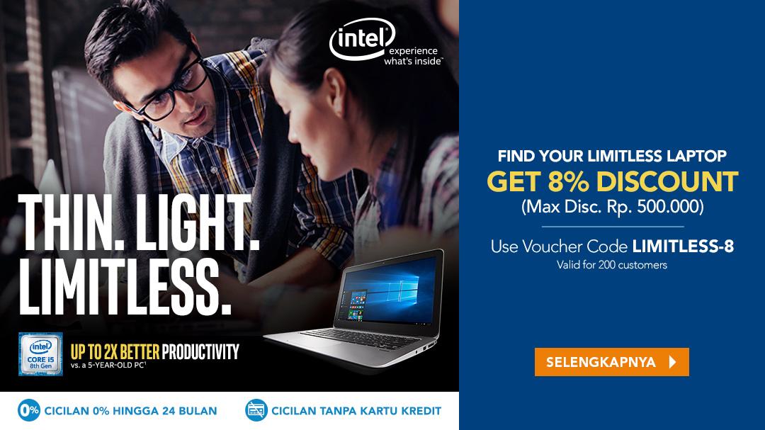 Diskon 8% Produk Intel Limitless