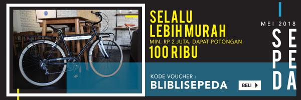 Sepeda selalu lebih murah, potongan Rp100.000