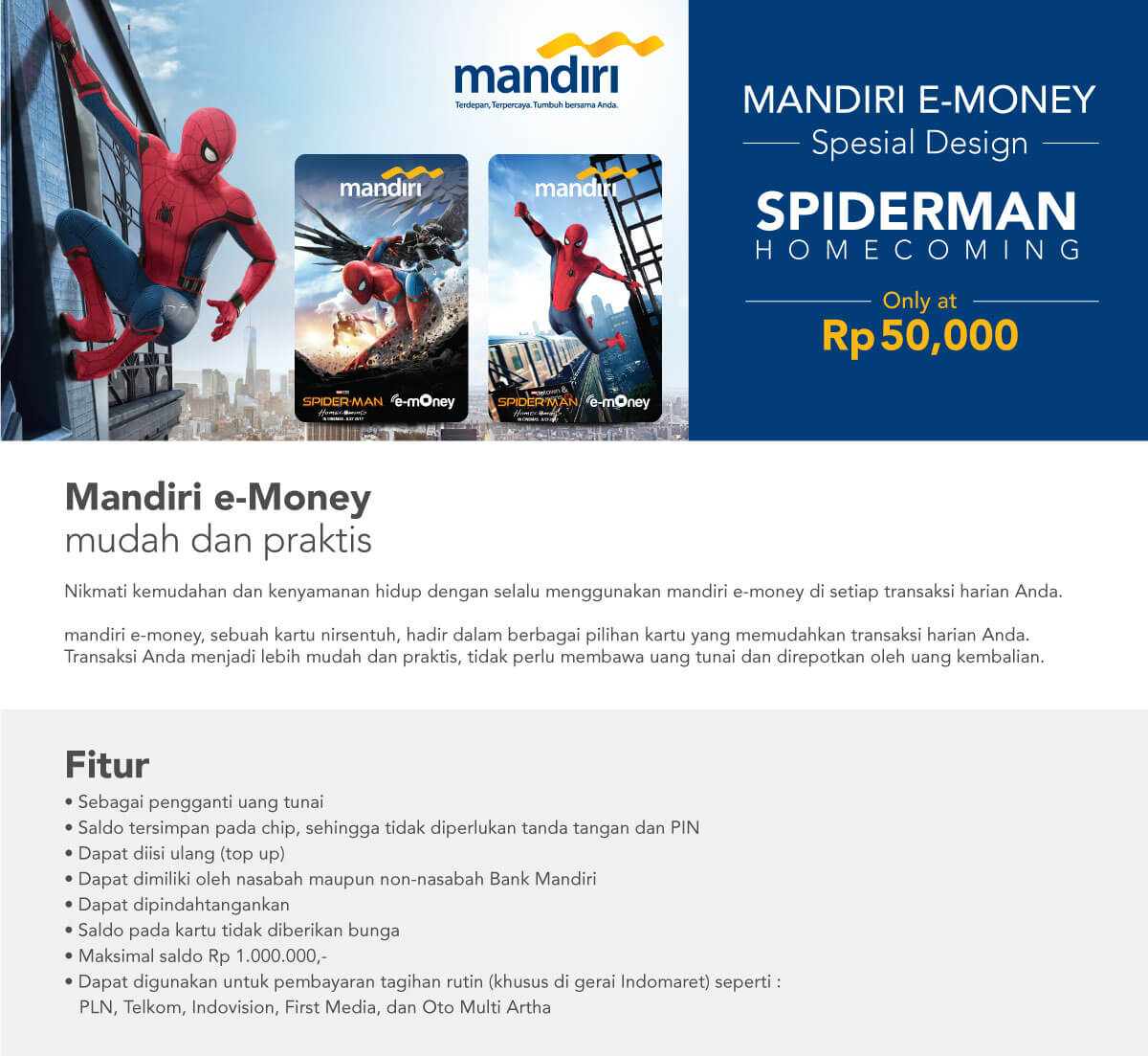 E Money Special Spiderman Mandiri Saldo Rp 0 Promo Telah Berakhir