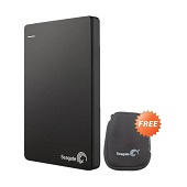 Seagate Backup Plus Slim Black Hard Disk External (1 TB) + Pouch + 200GB One Drive Cloud