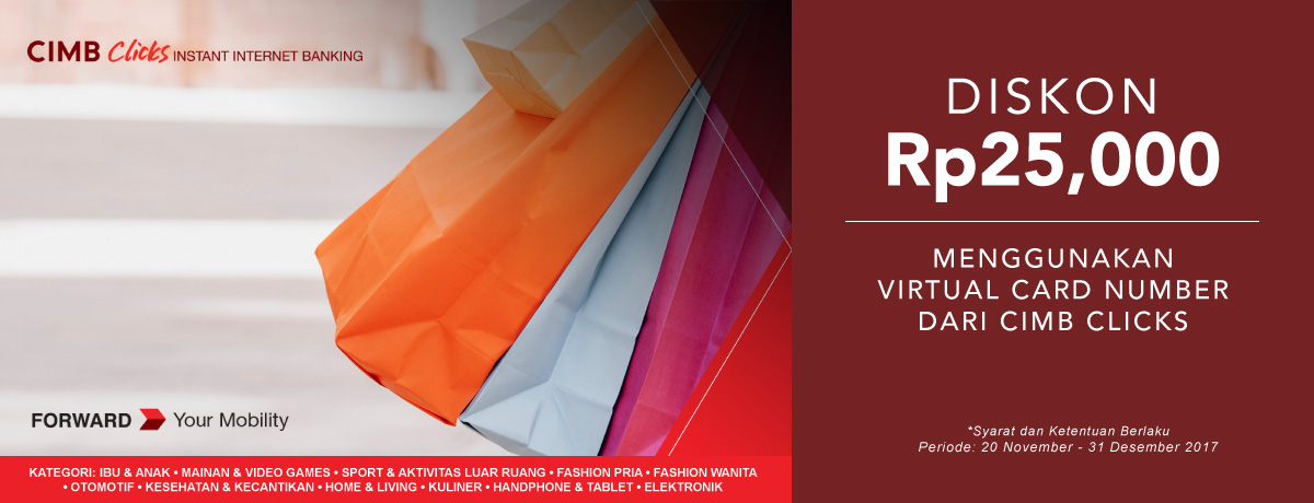 Diskon Rp25,000 dengan Virtual Card Number CIMB Clicks