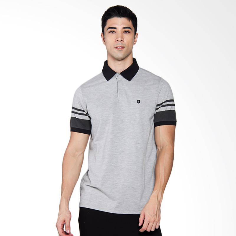 Famo Line Poloshirt Kaos Pria - Grey [506031712]