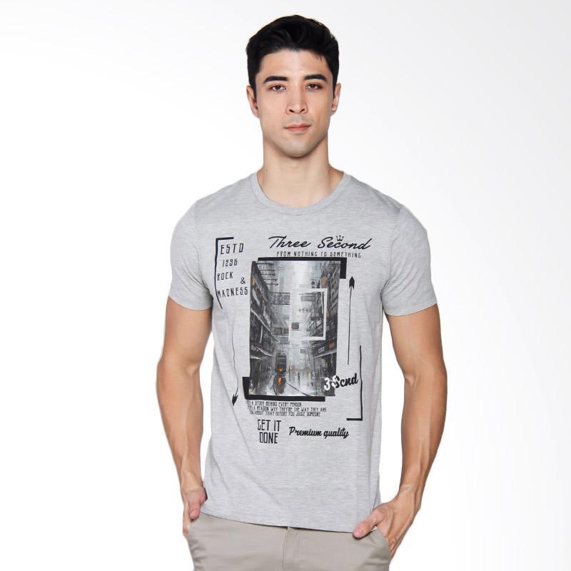 3SECOND Photograph Printed Basic Tee T-shirt Pria - Grey [147041712]