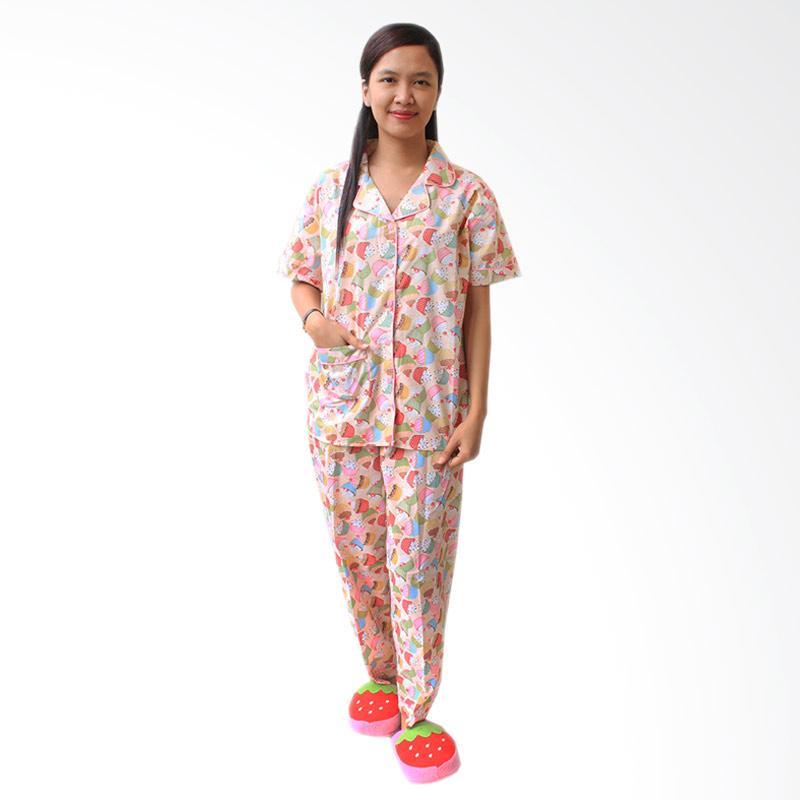 Aily SL015 Setelan Baju Tidur Piyama Wanita - Pink