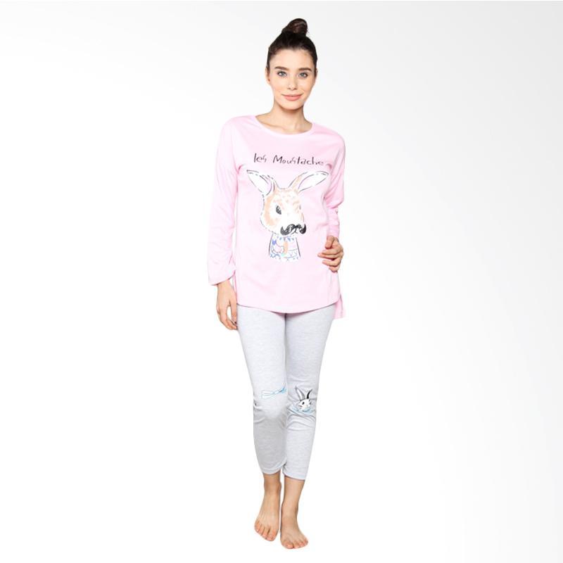 Aily S81 Setelan Baju Tidur Wanita Celana Panjang - Pink