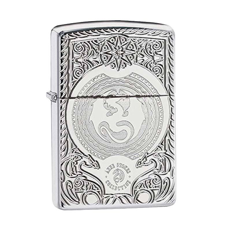 Zippo Anne Stokes Dragon Design Pocket Lighter - High Polish Chrome