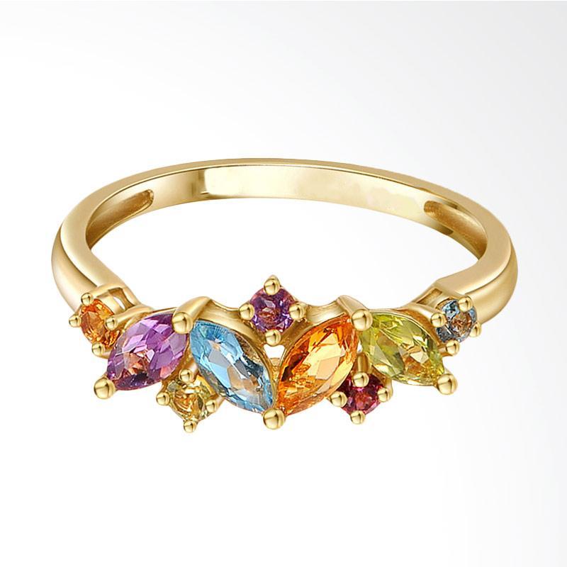 Tiaria Flawless Gems Yellow Gold Perhiasan Emas Cincin [9K]