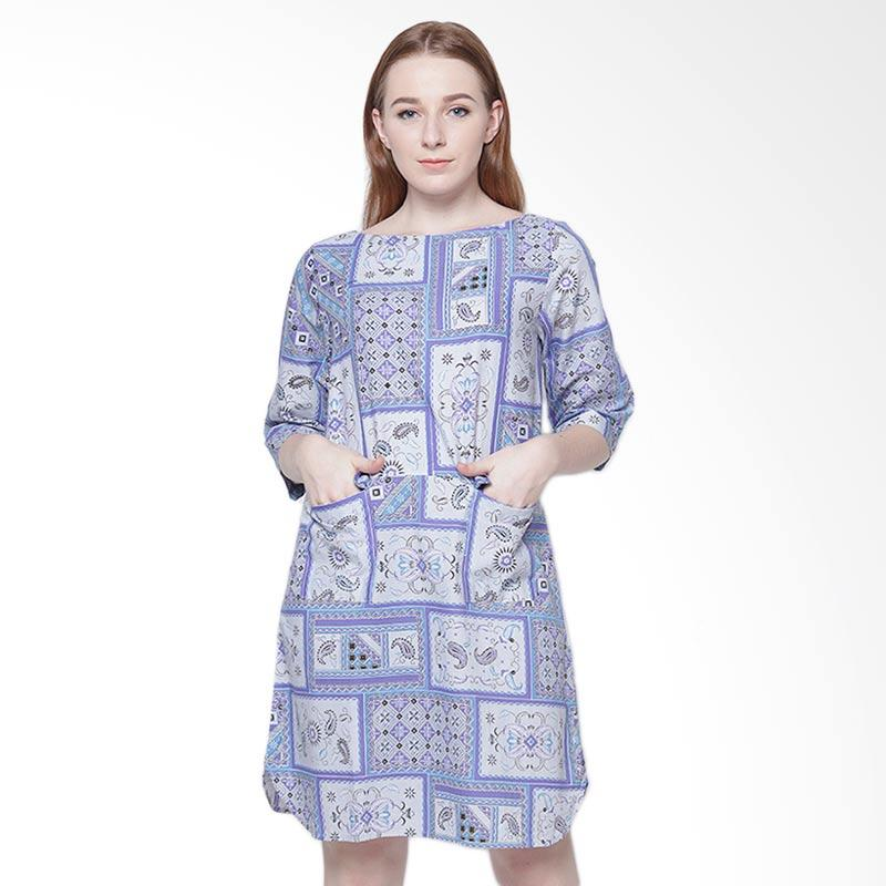 Days by Danarhadi Women Kotak Asimetris Shift Dress Wanita - Light Blue