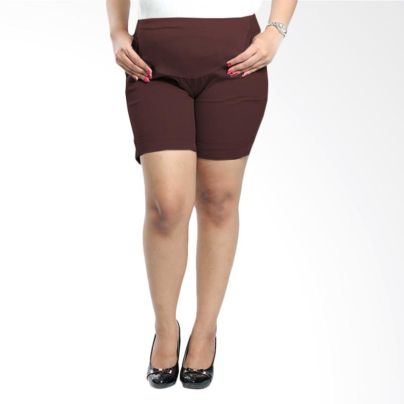 Miracle Online Shop Celana Hamil Pendek Hotpants Clarisa - Coklat