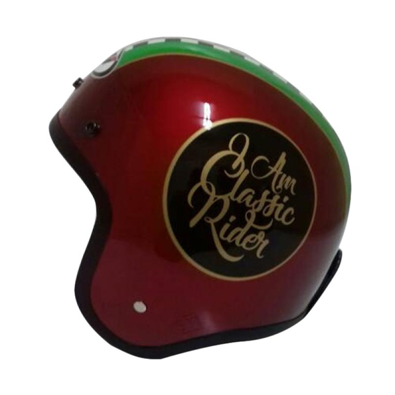THI Helmets Classic Grafis Helm Half Face - Merah