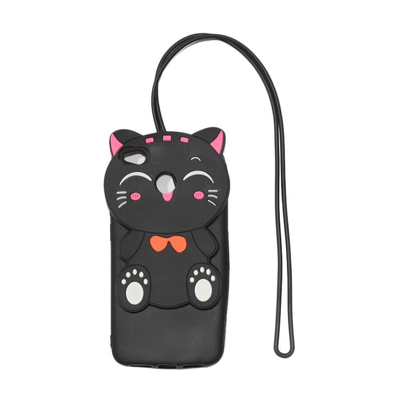 QCF Softcase 4D Silikon Case 4D Karakter Kucing Lucky Cat Edition Silikon Softcase with Kalung Tali Gantungan Casing for Xiaomi Redmi 4X - Black