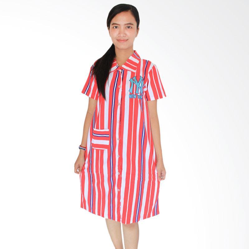 Aily 340 Katun Printed Daster Wanita - Merah