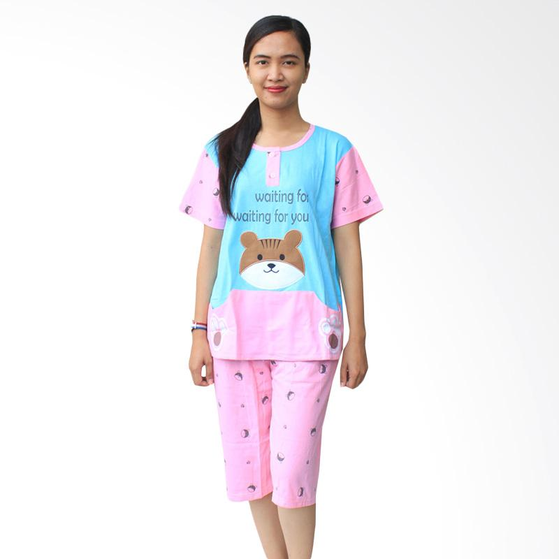 Aily SL040 Setelan Baju Tidur Wanita Celana Pendek - Biru