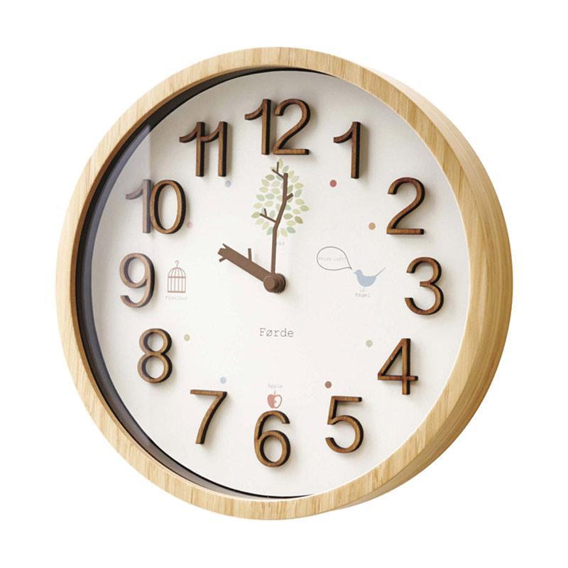 Zeller Life Rustic Modern Home Decor Round Clock Trad Wooden Jam Dinding - White