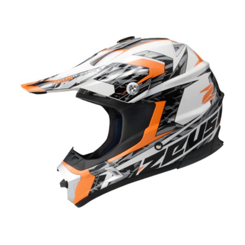 Zeus ZS-951 RR12 Grafik Helm Fullface Motocross - Putih Orange