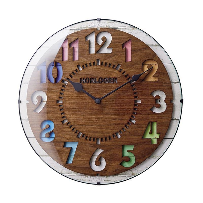 Zeller Life Rustic Modern Home Decor Round Clock Forli Wooden Jam Dinding - Brown