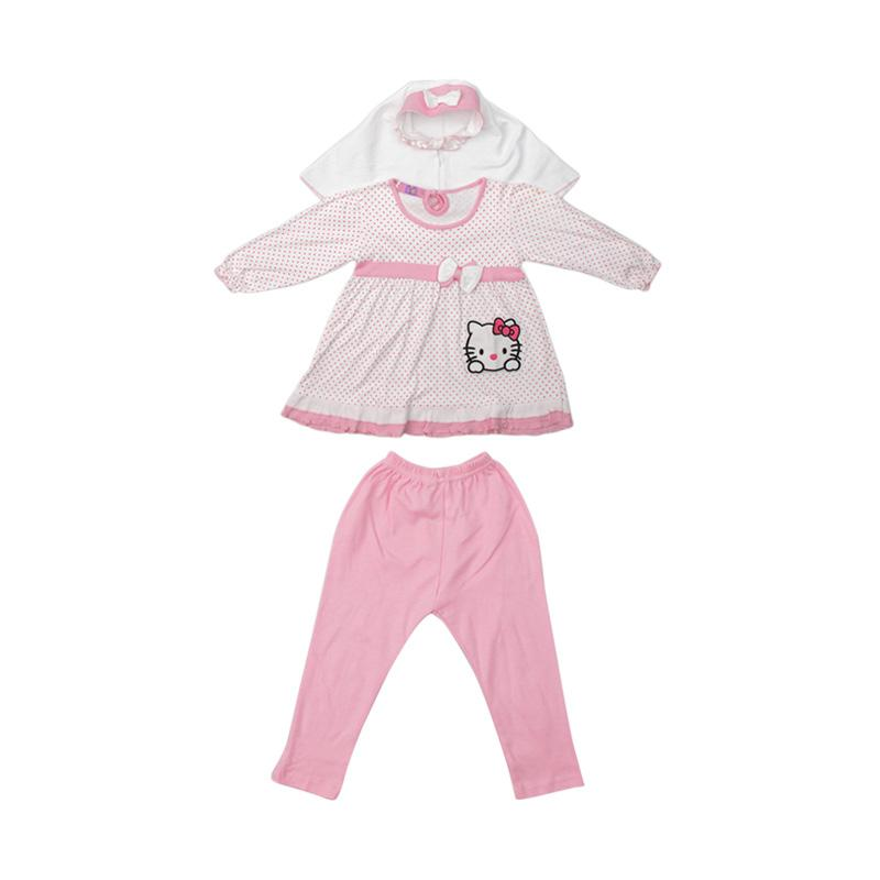 4 You Set Hijab Blouse and Pants Anak - Pink