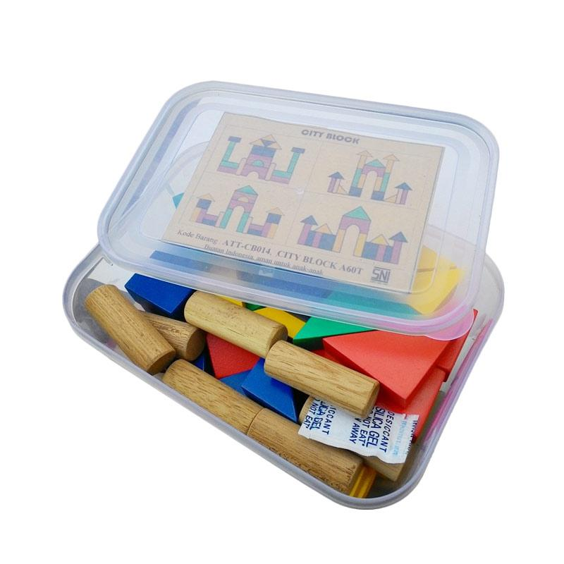 Atham Toys A60T Balok Bangun Kayu Mainan Edukasi Anak