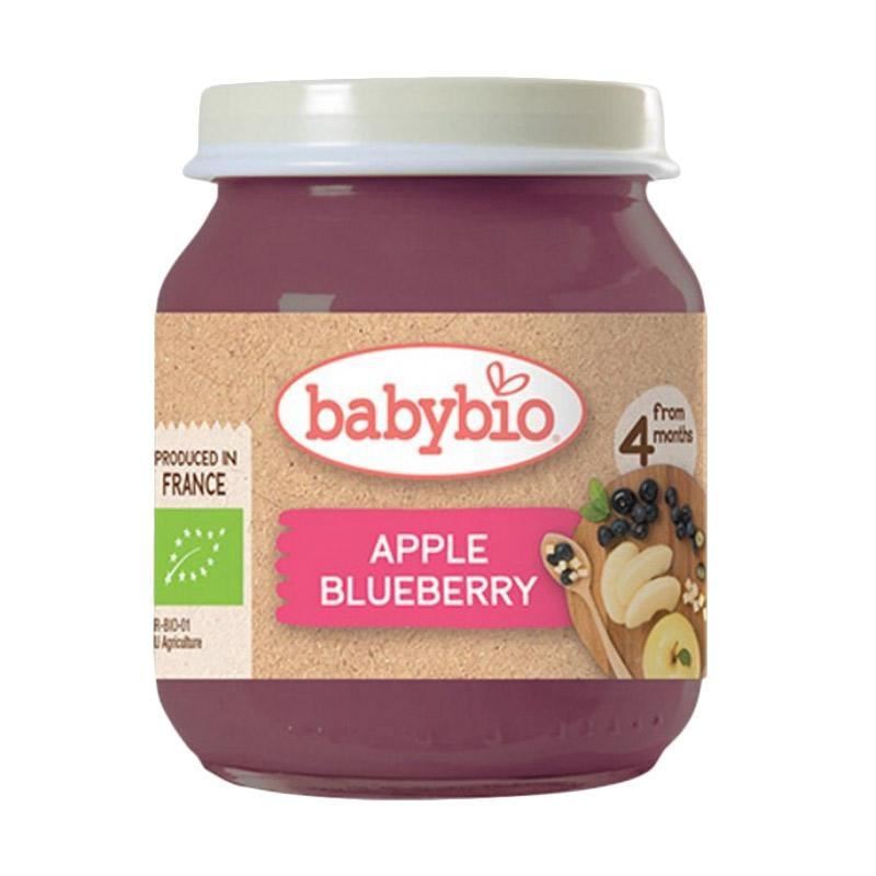 Babynat Babybio Organic Apple & Blueberry Makanan Bayi  [130 g/4m+]