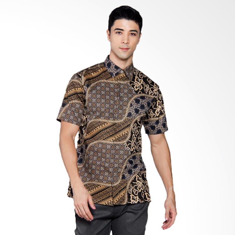 Batik Heritage Katun Premium Kawung Lurik Mega Mendung Slim Fit Kemeja Pria Lengan Pendek - Hitam
