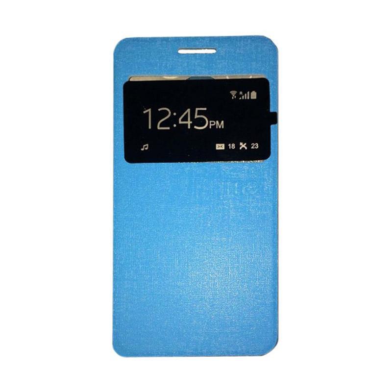 Ume Flip Case Flip Cover Window Casing for Andromax E2 Plus - Biru Muda