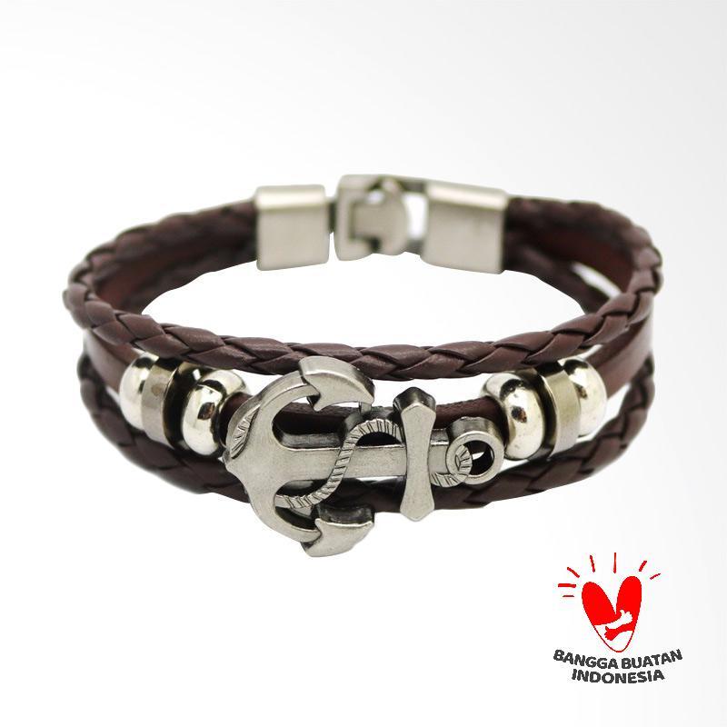 Arrazi Craft Model Anchor Kulit Asli Gelang Couple - Hitam Coklat