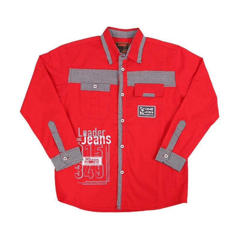 Woffi HK5-04-764 Leader Jeans Casual Kemeja Lengan Panjang Anak - Merah