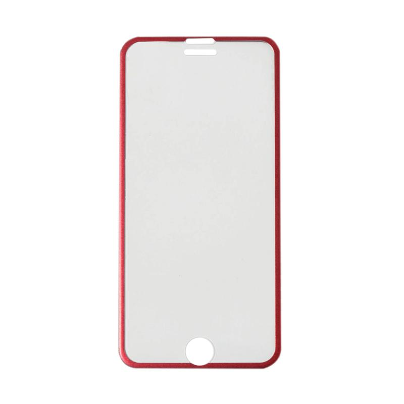 QCF Tempered Glass Ring Besi Aluminium Screen Protector for Apple iPhone 7 / iPhone7 / Iphone 7G Ukuran 4.7 Inch Pelindung Layar - Merah