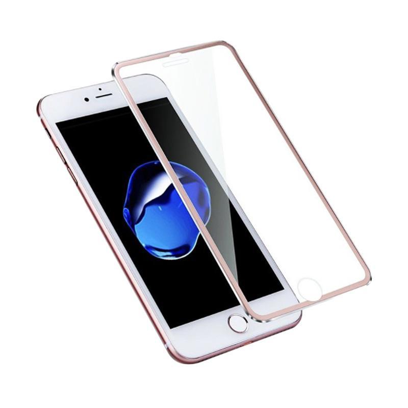 QCF Tempered Glass Ring Besi Aluminium Screen Protector for Apple iPhone 7 Plus / iPhone 7Plus / Iphone 7+ 5.5 Inch Pelindung Layar - Rose Gold