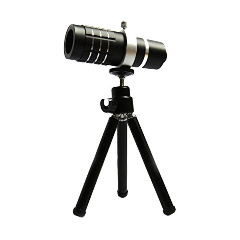 Universal Mobile Telephoto Lens 12x Zoom Optical Telescope Aluminium Fokus Lensa Camera for Smartphone + Tripod + Holder