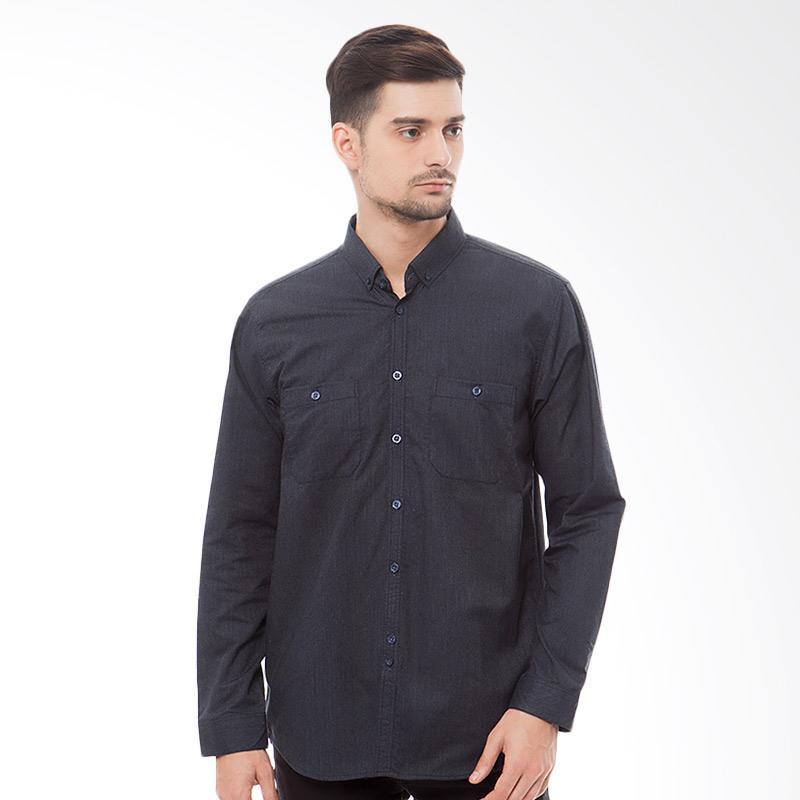 Tendencies Shirt Deep Blue Oxford Pair Pocket Kemeja Pria
