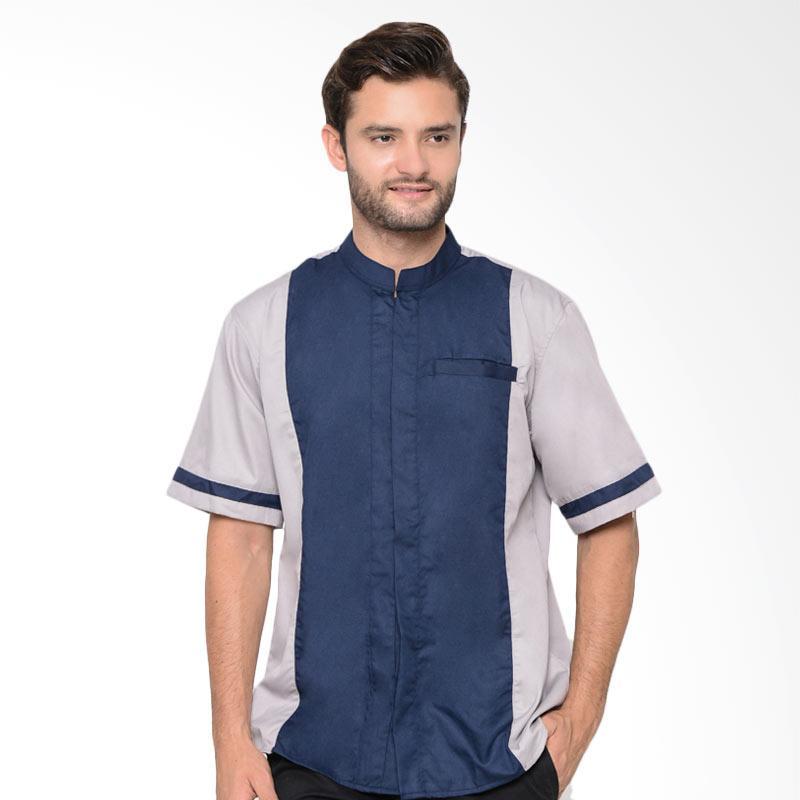 Allev Masrur Shirt Baju Koko Pria - Silver Navy