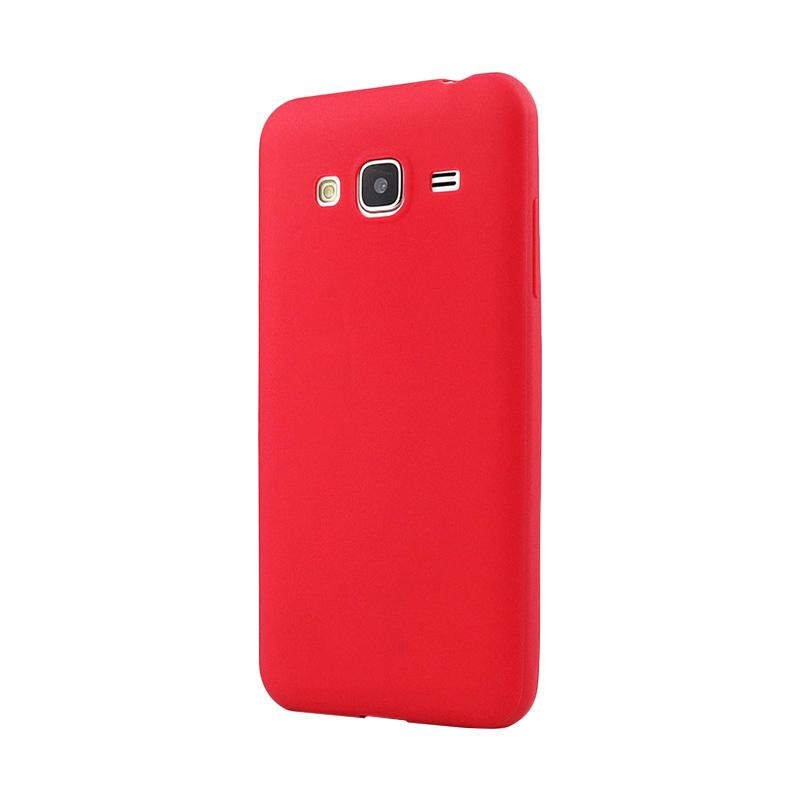 Lize Design Case Anti Glare Silicone Casing for Samsung Galaxy J310 / J3 2016 Candy Case Matte - Merah
