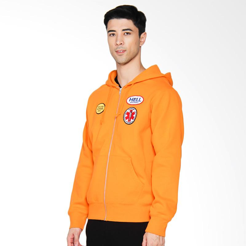 Supreme New York Hysteric Glamour Patches Zip-Up Sweatshirt Jaket Pria - Orange