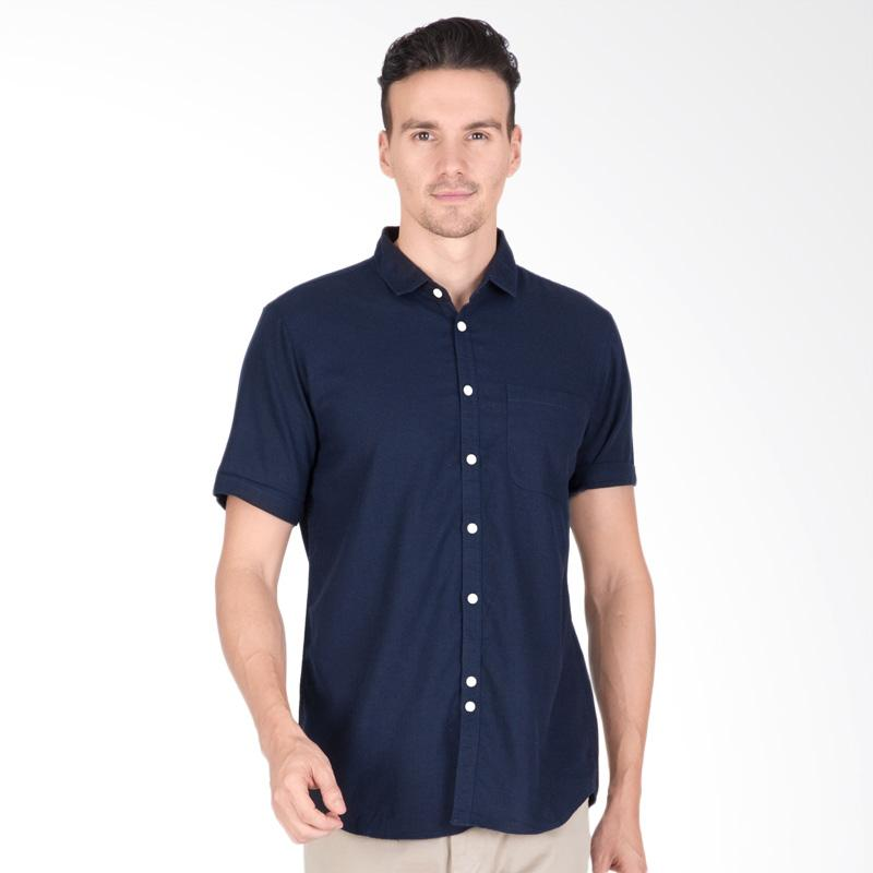 Tendencies Contrast Button Shirt Kemeja Pria - Navy