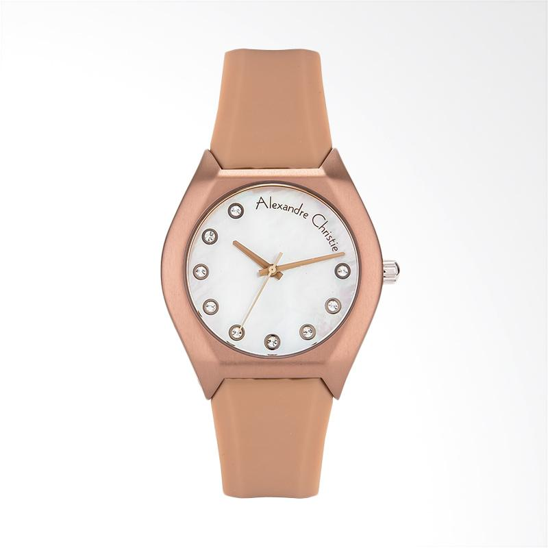 Alexandre Christie Classic AC 2702 LH RBOMS Ladies White Mother of Pearl Jam Tangan Wanita - Brown Rose Gold