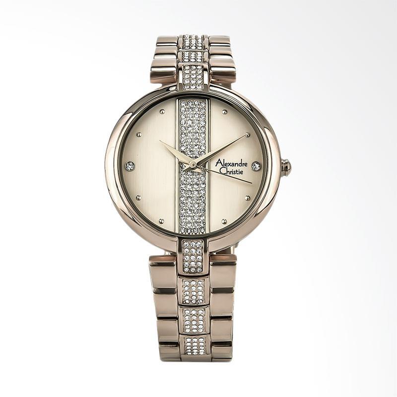Alexandre Christie AC 2684 LH BCGCN Ladies Beige Dial Stainless Steel Jam Tangan Wanita - Gold