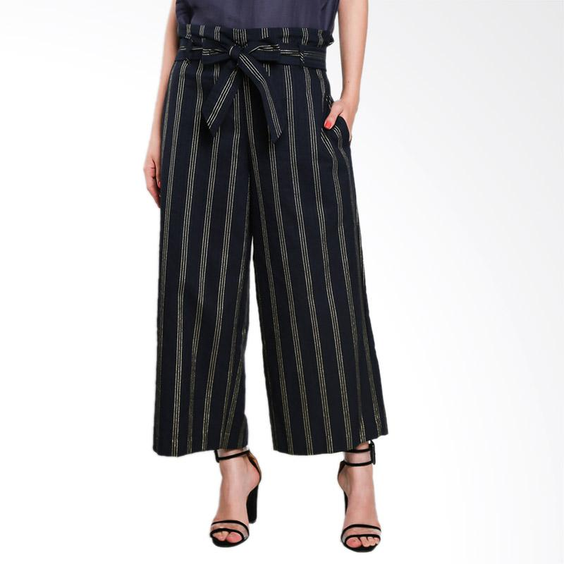 Nikicio Suasana Wide Culotte Pants - Navy Blue With Gold Stripes