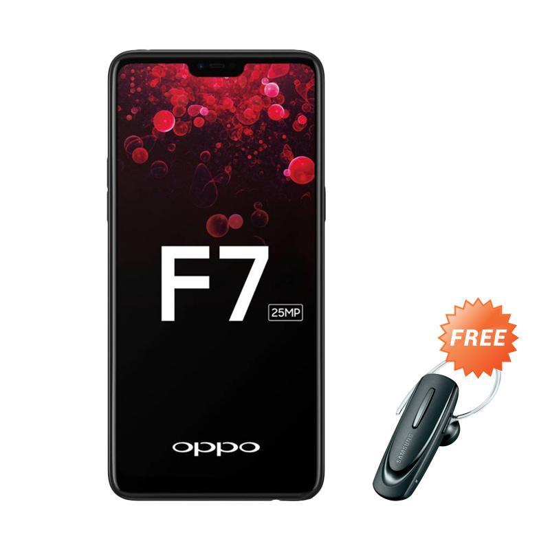 harga OPPO F7 Pro Smartphone - Black + Free Headset Bluetooth Blibli.com