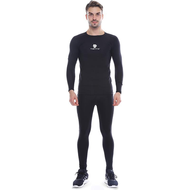 Jual Tiento Setelan Baselayer Manset Celana Legging Typotype Pakaian Olahraga Pria Black Online Oktober 2020 Blibli Com