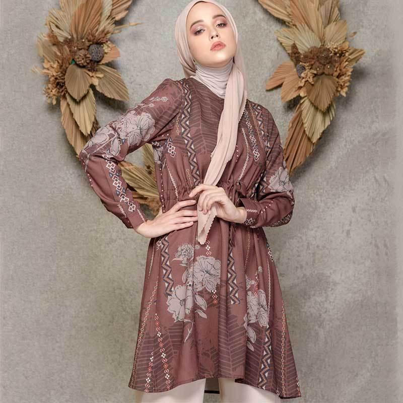 Louisaluna Kirana Tunic Muslim Wanita Brown