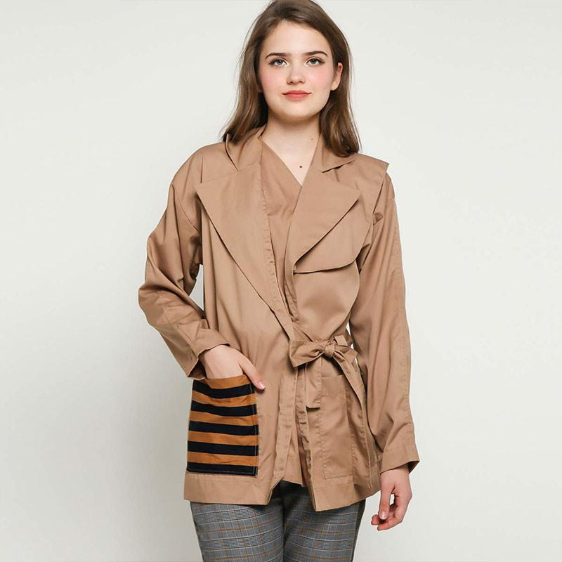 Oline Workrobe Double Tailored Collar Outer Wanita Beige