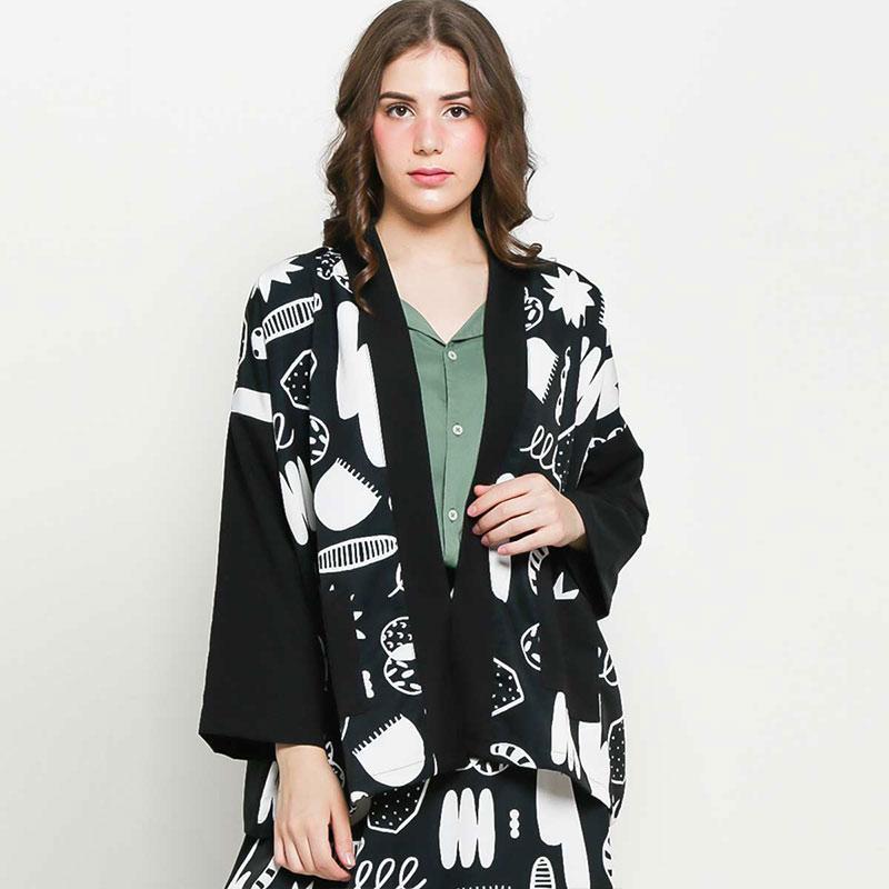 Koolastuffa Mutualism Kimono Outer Wanita Black
